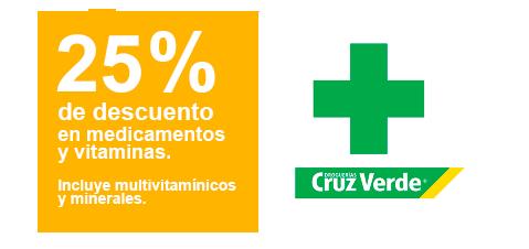 25% de descuento en medicamentos con alianza Cru Verde
