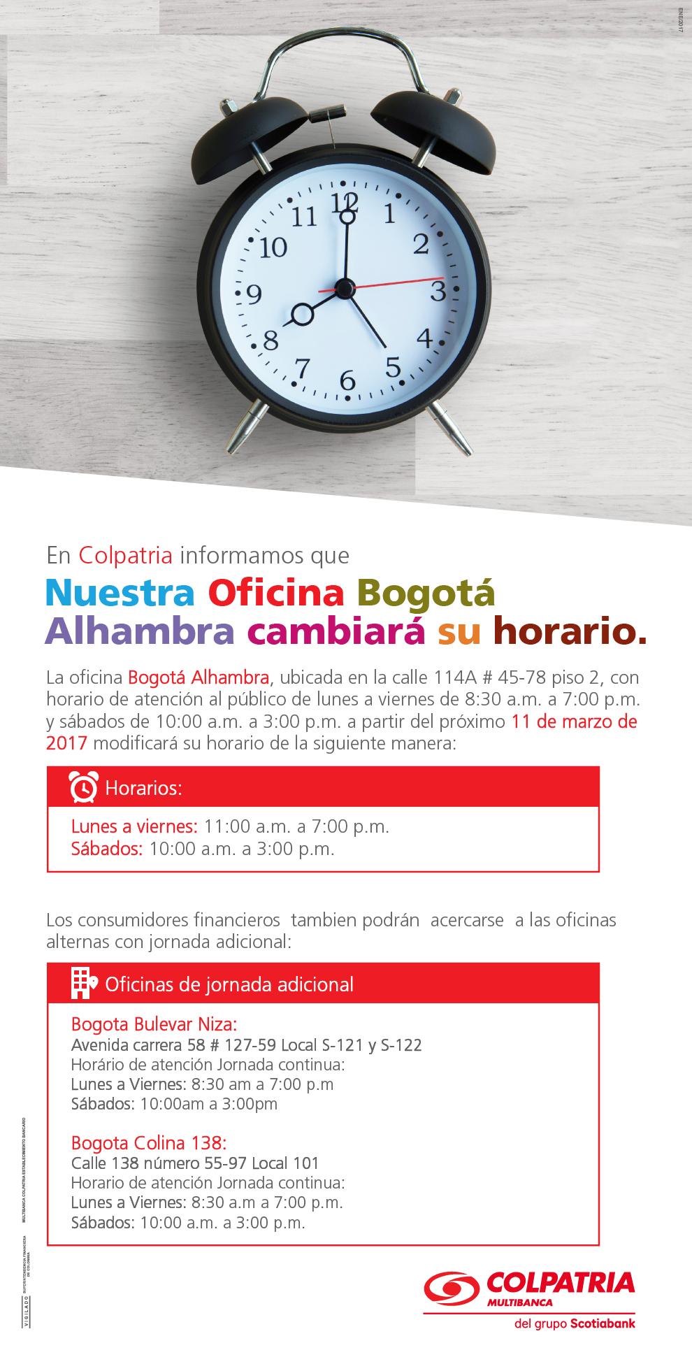 Colpatria oficinas y horarios de atencion scapancreditos for Horario oficina adeslas