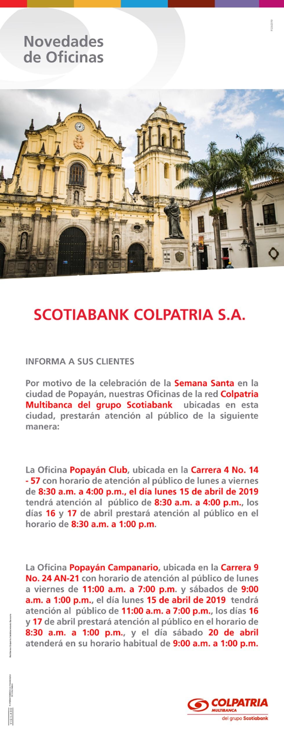 oficinas Popayán - horario semana santa