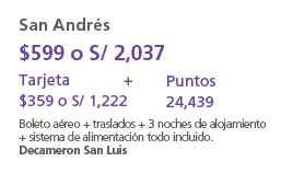 San Andres $599 o s/2,037